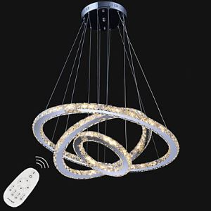 Dimmable LED Crystal Pendant Lights Contemporary Remote Control Chandelier Lamp Fixtures with 3 Ring D806040