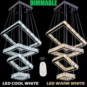Square Chandeliers Crystal Dimmable Ceiling Pendant Lamp with Remote Control AC100 to 240V CE FCC ROHS