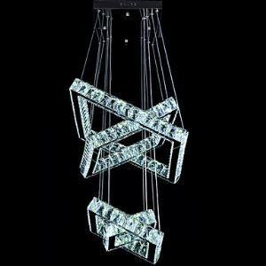 Square Crystal Pendant Light Fixtures Modern LED Chandeliers Lighting Lamp with AC100 to 240V CE FCC ROHS