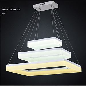 LED Pendant Light with 3 Ring Rectangle Acrylic Lamp Fxitures For Indoor Home Ac100 to 240V CE FCC ROHS