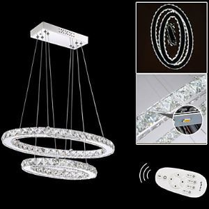 Dimmable LED Crystal Pendant Lights Chandelier Ceiling Lamps Fixtures with Oval Double Ring AC100 to 240v CE FCC UL
