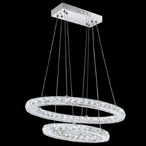 Modern LED Crystal Pendant Light with Oval Double Ring AC100 to 240v for Dining Room Lighting Ideas Living Room CE FCC UL