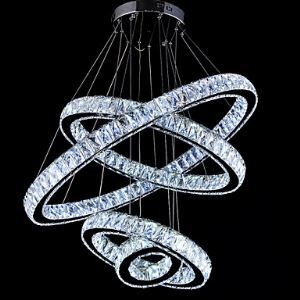 LED Crystal Pendant Light Ceiling Lamp Chandeliers Lighting Fixtures with 4 Rings CE FCC ROHS