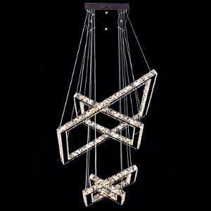 Modern LED Rectangle Crystal Chandelier Pendant Light Ceiling Lamp Lighting for Dining Room Lighting Ideas Hotel CE FCC ROHS