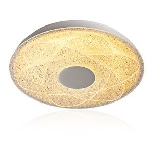 OBSESS GE-18019-C 15 3/4-Inch 36 Watts 3-stage Dimmable CCT LED Interior Flush Mount, Geometric Ice Crystal Glass