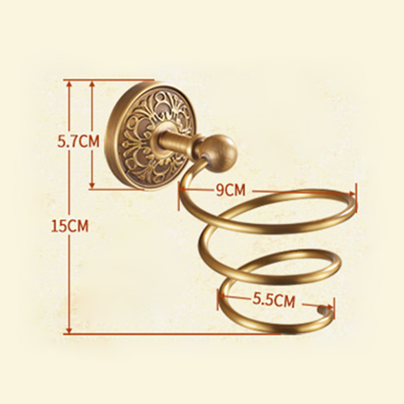 European Retro Style Bathroom Products Bathroom Accessories Copper Art Hair Dryer Holder