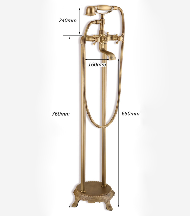 Antique Brushed Finish Brass Bathroom Shower Faucet Double Hole 3 Handle