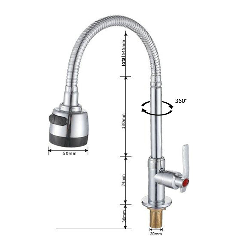 Modern Simple Chrome Plating Kitchen Faucet Adjustable Twist without Hose