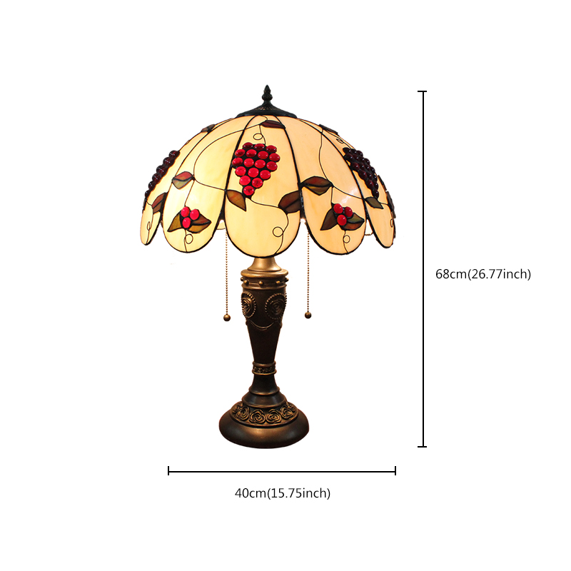 16inch European Retro Style Table Lamp Grape Pattern Glass Shade Bedroom Living Room Dining Room Lights