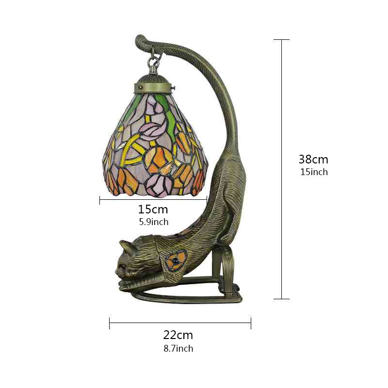 6inch European Pastoral Retro Style Table Lamp Colorful Flower Pattern Lamp Shade Kitten Lamp Base Bedroom Living Room Dining Room Lights