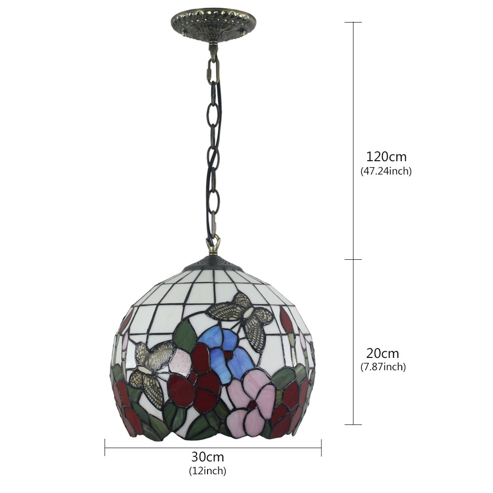 12inch European Pastoral Retro Style Pendant Light Butterfly and Flower Pattern Glass Shade Bedroom Living Room Dining Room Kitchen Lights