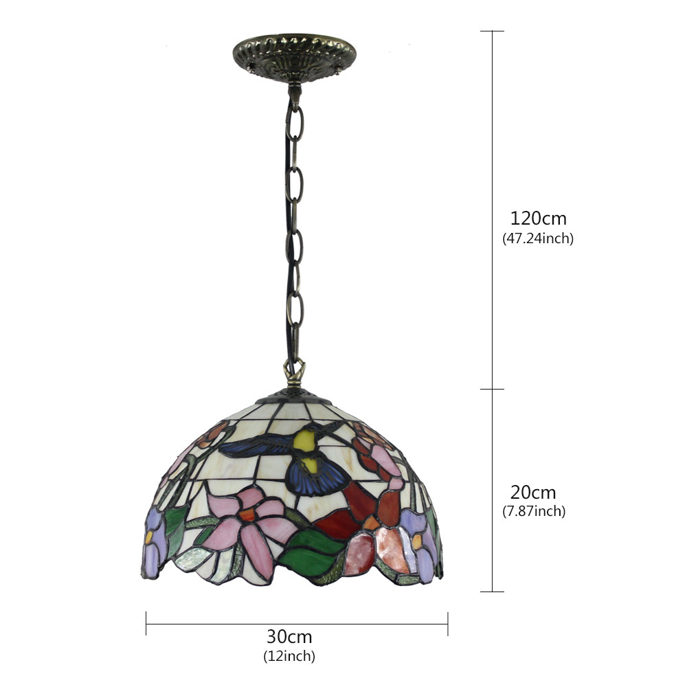 12inch European Pastoral Retro Style Pendant Light Hummingbird Gathering Flowers Pattern Glass Shade Bedroom Living Room Dining Room Kitchen Lights
