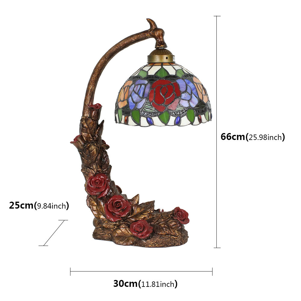 European Pastoral Retro Style Table Lamp Red Rose Resin Base Colorful Flower Pattern Bedroom Living Room Dining Room Lights 8inch Lampshade