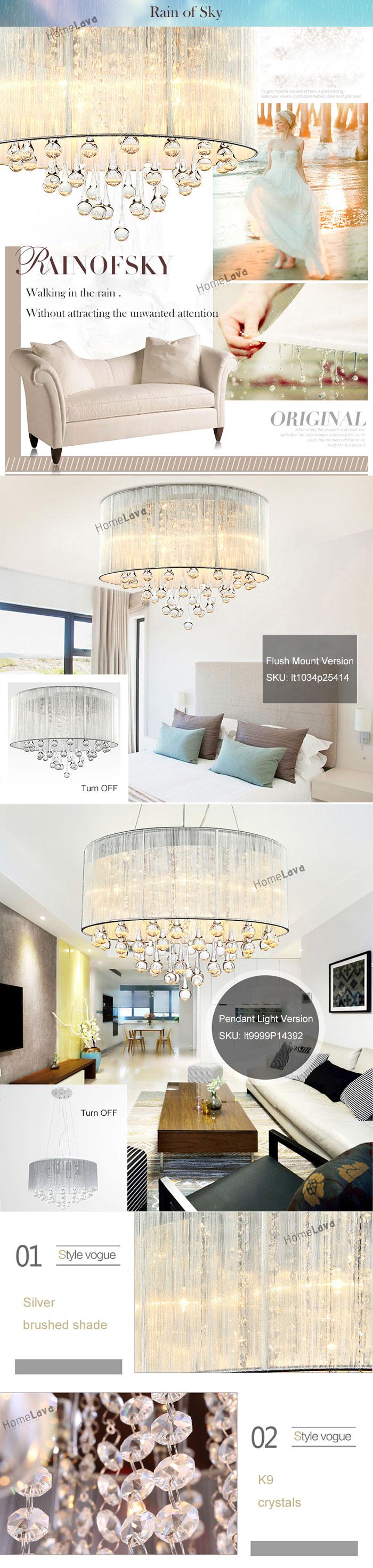 Modern Simple Fashion Round Crystal Flush Mount Ceiling Light 6 Lights(Rain of Sky)