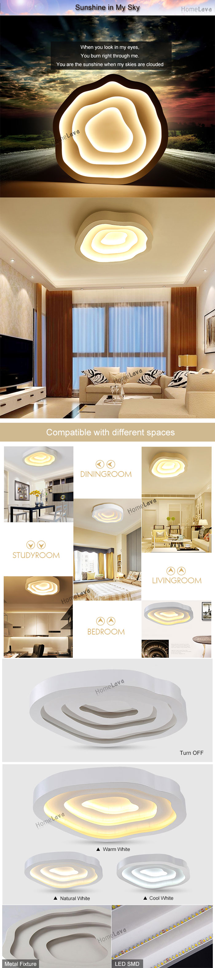 (In Stock) Modern Simple Fashion LED Metal White Flush Mount Light Living Room Bedroom Study Room Dining Room Energy Saving(Sunshine In My Sky)
