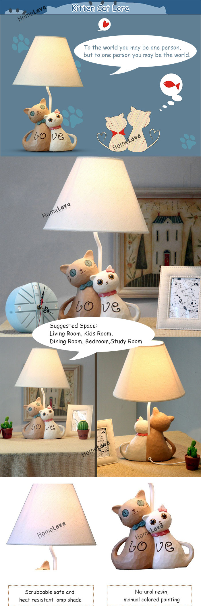 Modern Simple Creative Couple Cat Lamp Linen Shade(Kitten Cat Lore)