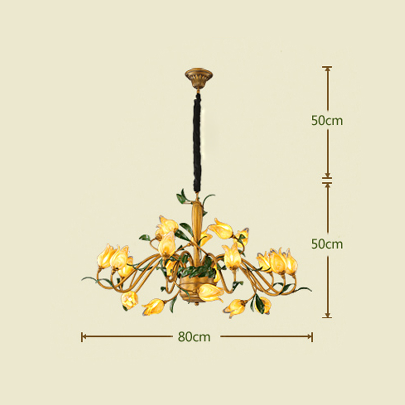 European Style Retro Iron Gold Tulip Glaze Shade 20 Lights LED Chandeliers