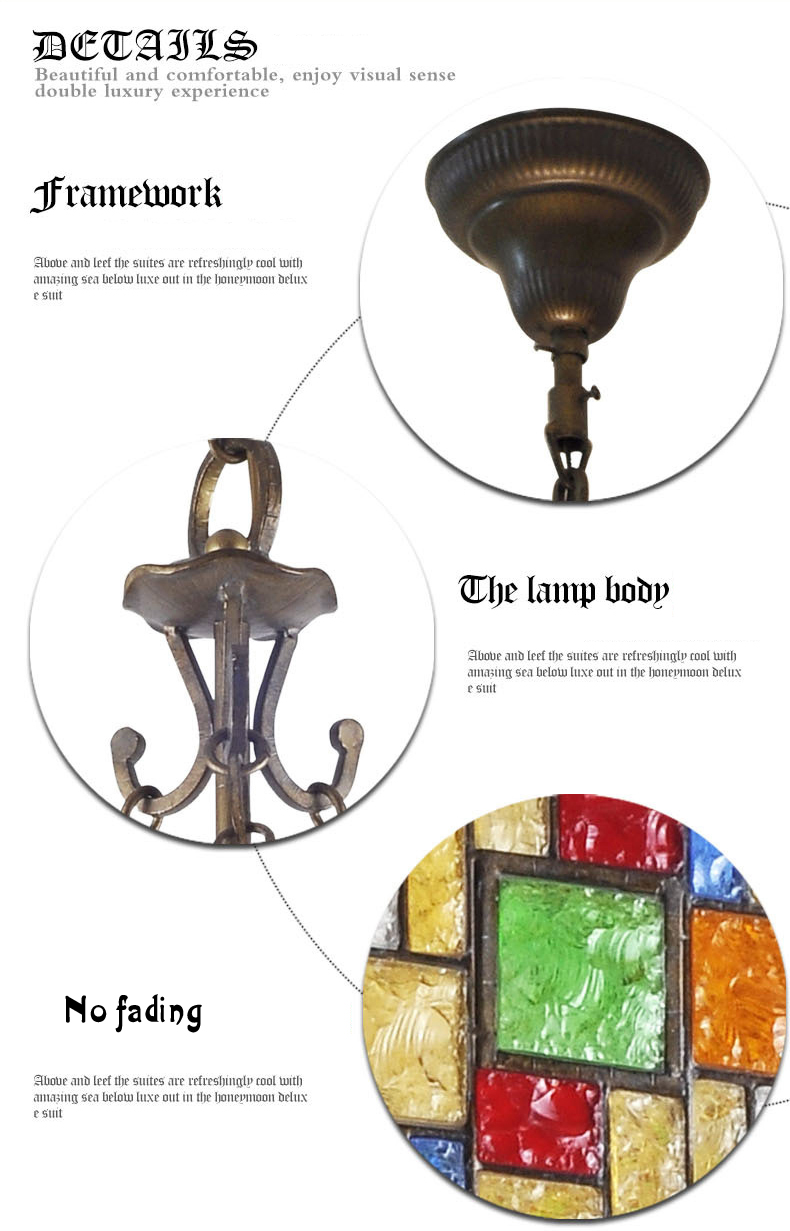 European Style Colorful Glaze Lampshade Iron Material 5 Lights Pendant Light