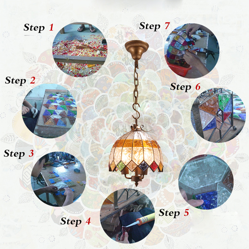 European Style Colorful Glaze Lampshade Iron Material 3 Lights Pendant Light Diameter 40cm Lampshade