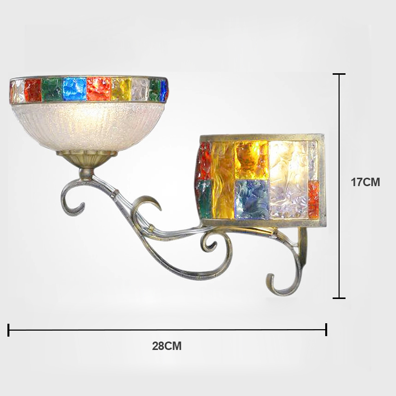 European Style Colorful Glaze Lampshade Iron Material 2 Lights Wall Light