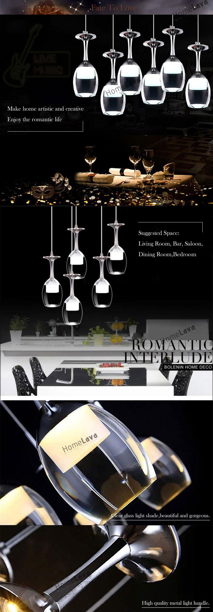 Ceiling Lights 25cm Round 9W LED Bar Wineglass Chandelier Dining Room Lighting Ideas Pendant Lamp(Fate To Love)