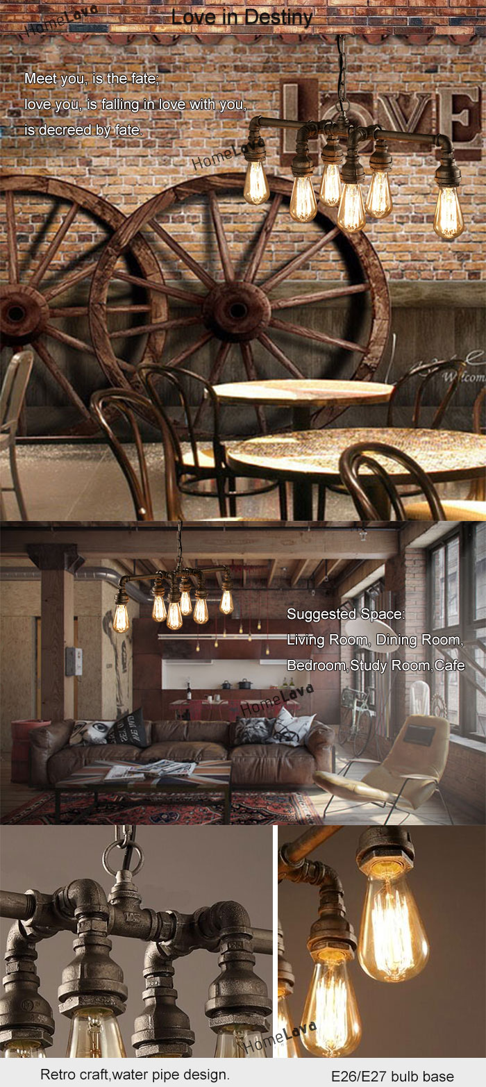 (In Stock) Ceiling Lights Edison Retro Loft Style Vintage Industrial Pendant Light Lamp Metal Water PipeLuminaire Lampara Colgantes(Love In Destiny)