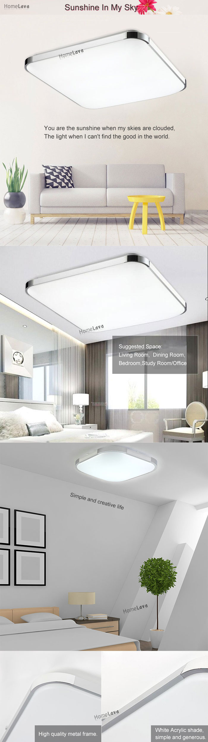 Modern LED Flush Mount Light Aluminum Acrylic Electroplating Energy Saving(Sunshine In My Sky)