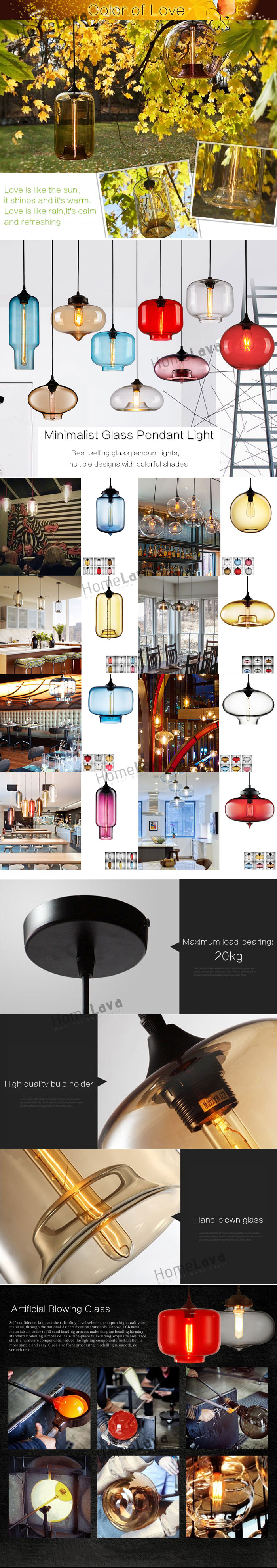 (In Stock) Modern Glass Pendant Light  Hand Blown Colorful Bell Shaded  with 1 Light Amber Color Dining Room Lighting Ideas Living Room Bedroom Lighting(Color of Love)