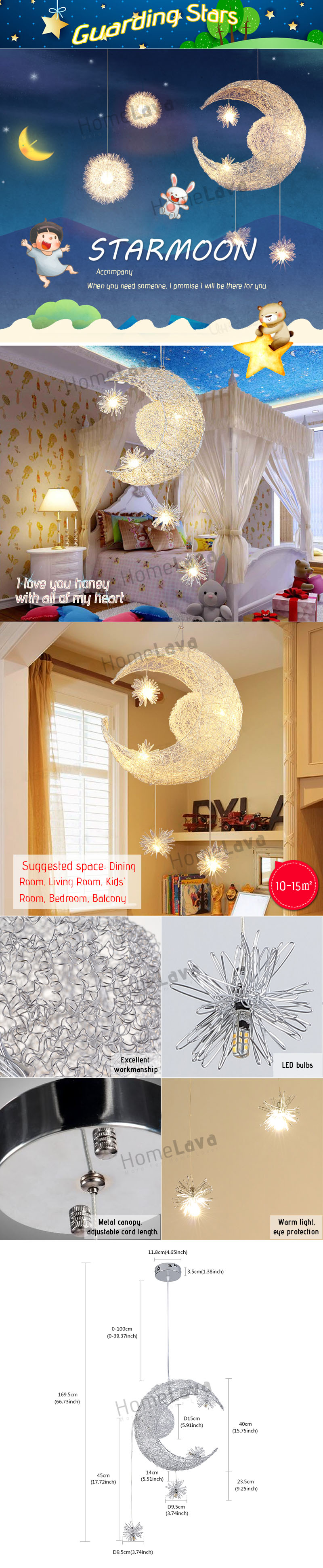 Ceiling Lights Modern Moon Star Featured LED Pendant Lights Mini Style Kitchen Lighting Ideas Dining Room Lighting Ideas Lighting Living Room with 5 Lights(Guarding Stars)