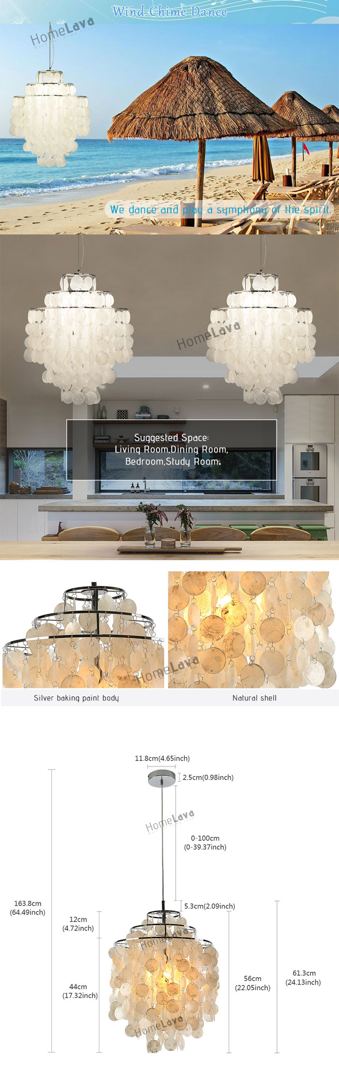 Ceiling Lights Modern Chandelier White Shell Pendant Lights Lamp with 1 Light(Wind Chime Dance)