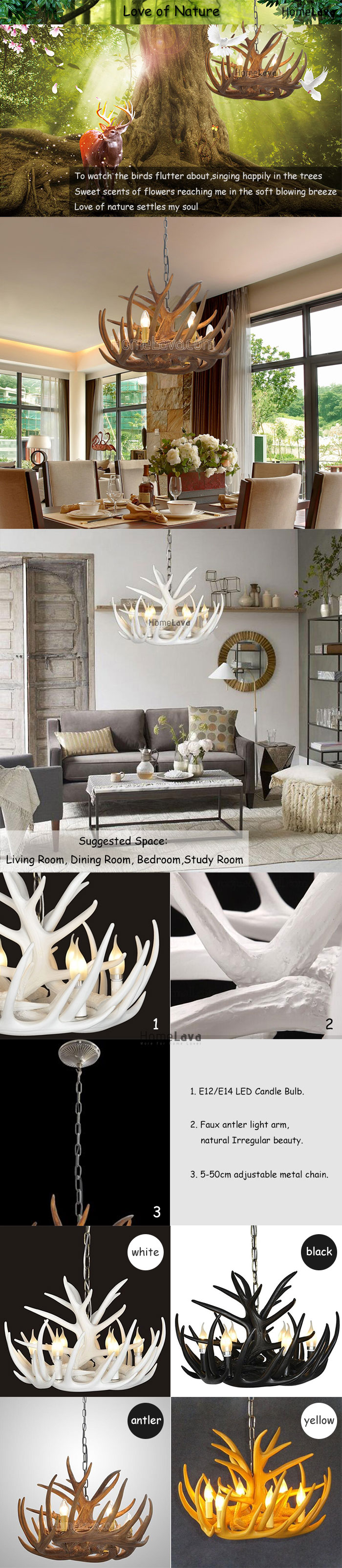 (In Stock) Rustic Cascade Chandelier Antler Chandelier Antler Lighting with 6 Lights Black Chandelier Dining Room Lighting Ideas Lighting Living Room Bedroom Ceiling Lights(Love Of Nature)