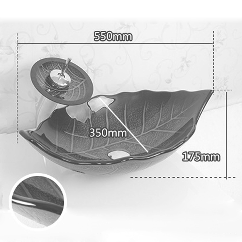 Modern Fashion Leaf Shape Tempered Glass Basin Mounting Ring Faucet Set