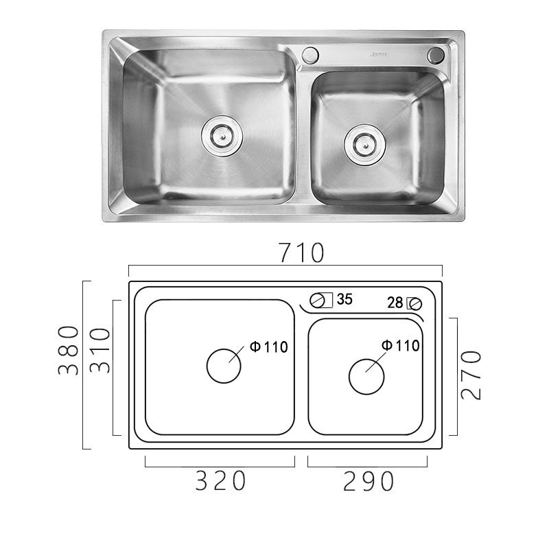 Modern Simple 304 Stainless Steel Sink Double Bowl Kitchen Washing Sink with Drain Basket and Liquid Soap Dispenser AOM7138