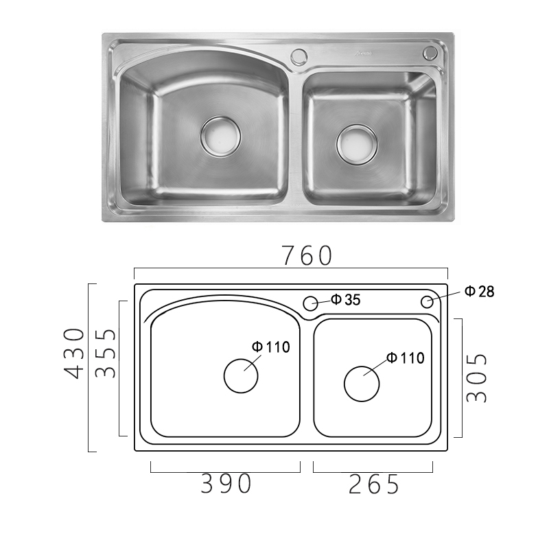 Modern Simple 304 Stainless Steel Sink Arc Design Large Double Bowl Kitchen Washing Sink with Drain Basket and Liquid Soap Dispenser AOM7643
