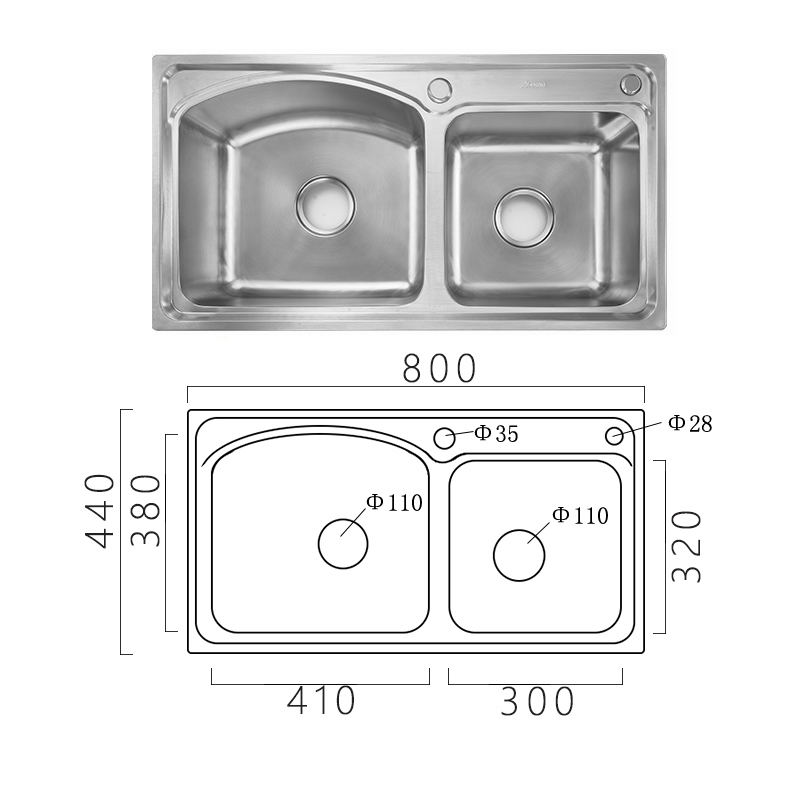 Modern Simple 304 Stainless Steel Sink Arc Design Large Double Bowl Kitchen Washing Sink with Drain Basket and Liquid Soap Dispenser AOM8044