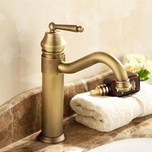Antique Brass Bathroom Faucet Single Handle Centerset Basin Tap(1039-MA1120)