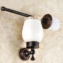 European Antique Bathroom Accessories Copper Engraving Toilet Brush Holder