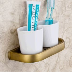 European Antique Bathroom Accessories Copper Toothbrush Holder