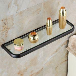 European Antique Bathroom Accessories Copper ORB Single-layer Glass Bath Shelf