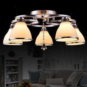 Crystal LED Flush Mount,5 Light, Modern Fashion White Stainless Steel Glass Energy Saving