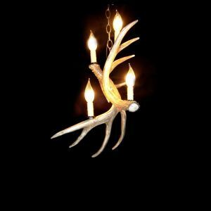Rustic Style Cascade Chandelier Artistic Antler Chandelier Antler Lighting with 4 Lights Antler Color Dining Room Lighting Ideas Living Room Bedroom Lighting