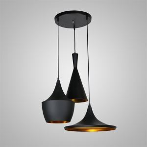 Pendant 3 Light American Style Black Chandelier Iron Aluminum Spinning