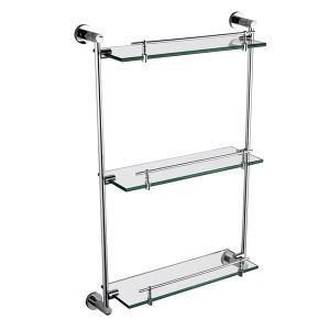 Chrome Finish Three Layers Bathroom Glass Brackets