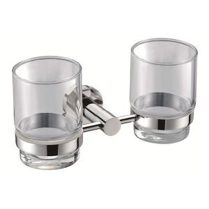 (In Stock) (UK Direct) New Modern Chrome-colored Bathroom Accessories Toothbrush Holder Solid Brass Double Tumbler Holder (Only for UK Customer)