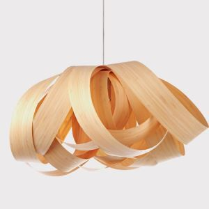 Rustic Style Natural Veneer Flower Shape Pendant Light 1-light