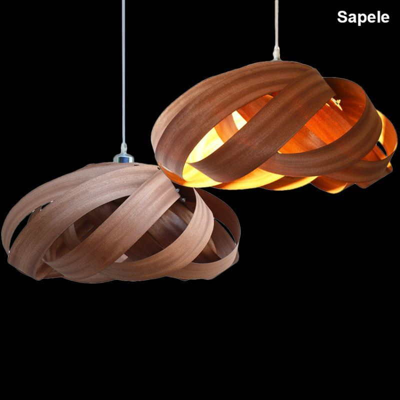 Rustic Style Natural Veneer Spiral Pendant Light 1-light 3-light - from $227.99