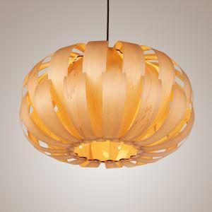 Rustic Style Natural Veneer Crown Shape Pendant Light 1-light