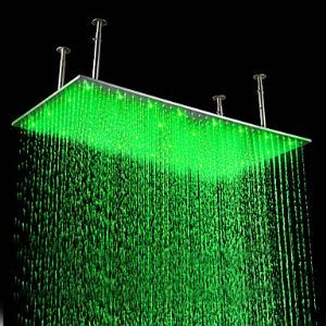 Large LED Shower Head Luxury High Pressure Stainless Steel Shower with Color Changing LED Light 20 x 39 inch