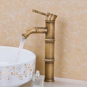 Antique Brass Finish Kitchen Faucet - Bamboo Shape Design