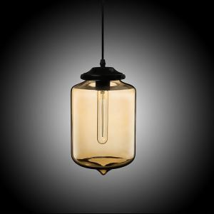 (In Stock) Modern Transparent Glass Pendant Light  Hand Blown Colorful with 1 Light Amber Color Dining Room Lighting Ideas Living Room Bedroom Lighting